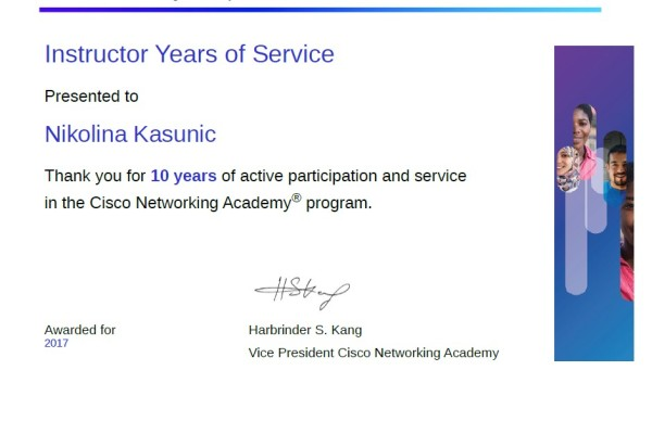 10 Years of Service Nikolina