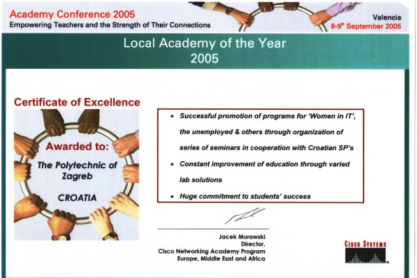 Best Cisco academy of the year  2005